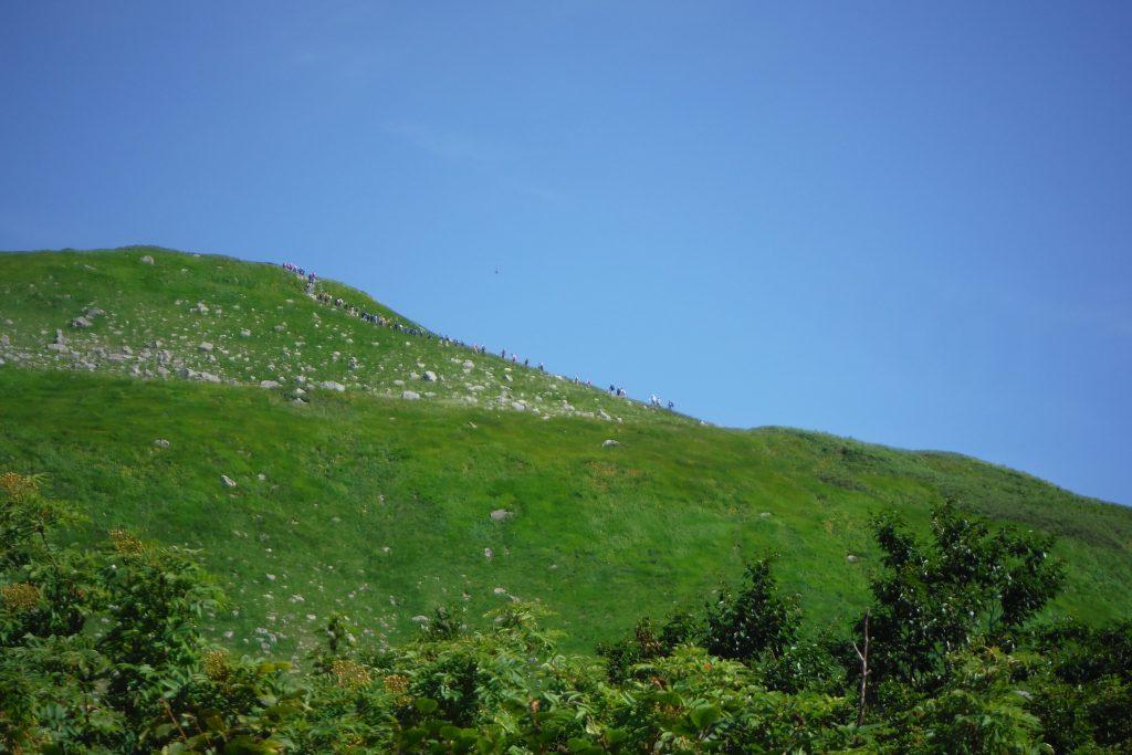 姥ヶ岳への登山客見えますか